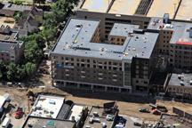 Stadium Village Flats construction aerial